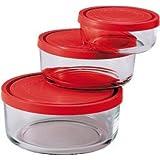 Bormioli 226017-S02 Gelo Box Boîte de Conservation Verre Transparent avec Couvercle Rouge Set de 3