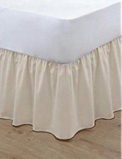 "T&A Traders® Polycotton Plain Dyed Under Mattress Platform Base Valance Sheet King Size Cream Frill Length 16"" (40cm)"
