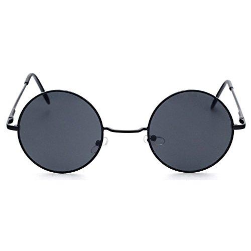 Lunettes Vintage 60S de MEIHAOWEI Noir Cadre Gris Rond soleil Steampunk 70S pRPWcqB