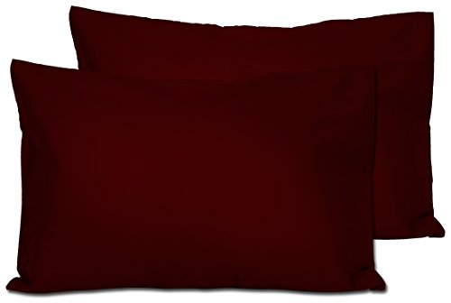 2 Dark Maroon Toddler Pillowcases - Envelope Style - For Pillows Sized 13x18 and 14x19 - 100% Cotton With Sateen Weave - Machine Washable - 2 ()