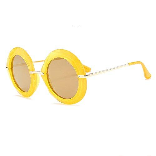 Yellow Grande Euramerican Marco Redondas De Gafas De Sol De Gafas Sol Black De Tendencia xfSpaa