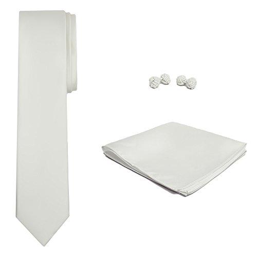 Cream Color Hanky Cufflink Skinny Alexander Ivory Tie Men's and Set Jacob Solid BwZOxqx6P
