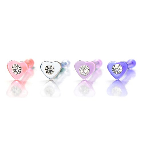 Heart Nose Studs Rings with Cubic Zircon
