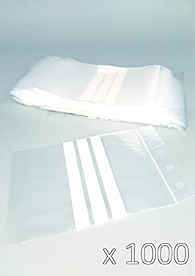 Bolsas de plástico con cierre zip con bandas blancas - 120mm x 180mm - paquete de 1000 piezas (10x100) - Apta para el contacto alimentario