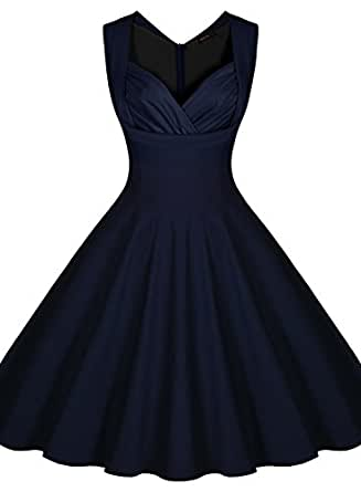 Miusol Women's Cut Out V-Neck Vintage Casual 1950'S Retro Party Dress (3X-Large, Navy Blue)