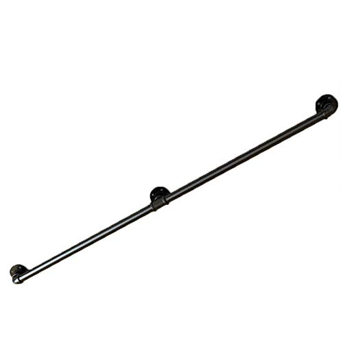 YIKE - Pipe Armrest/Wrought Iron Stair Handrail, Industrial Wind Home Indoor Corridor Attic Wall Old Man Anti-Skid Pipe Handrail Fence, Black, Length: 30cm-300cm Optional (Pipe Rail)