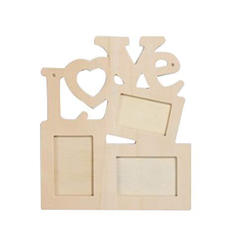 Godagoda 1Pcs Wooden European Love Siamese Letter Photo Frame Children's DIY White Embryo Photo Frame Snowflake Mud Photo Frame (Horizontal Photo Frames Online)