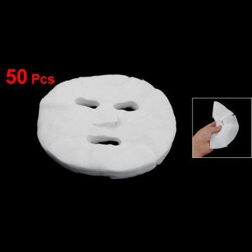 TOOGOO(R) 50 Stueck Weiss Kosmetik Vergroesserte Baumwolle Gesichtsmaske Blatt fuer Damen 006848