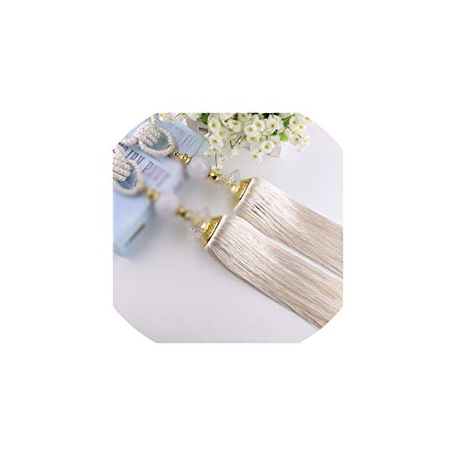 (Cherryran Curtain Tiebacks A Pair Holder for Decoration Tassels Pendant Accessories,White)