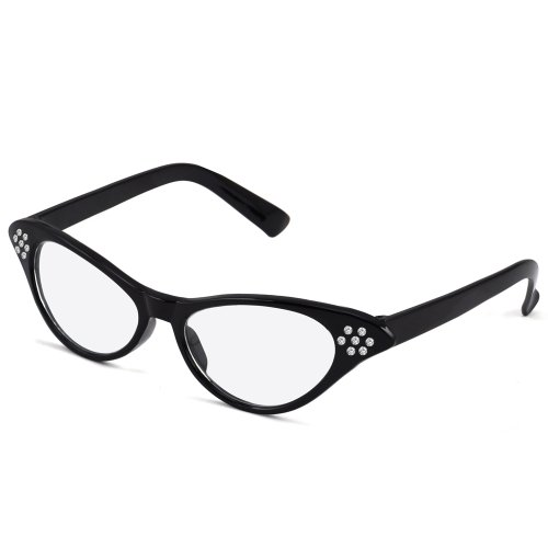 [World Pride 50's 60's Cat Eye Grease Cateye Glasses Rhinestone for Fancy Dress (Black)] (50s Costumes Women)