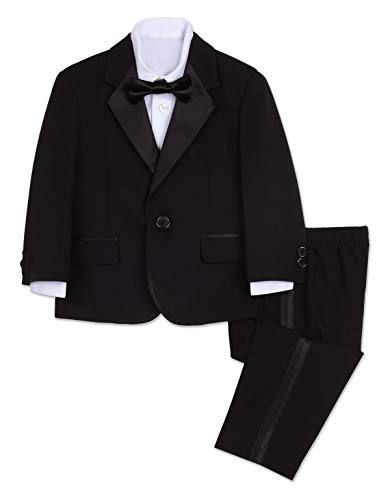 Nautica Boys' Little 4-Piece Tuxedo Set with Dress Shirt, Bow Tie, Jacket, and Pants, -