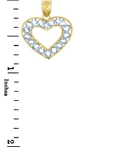 10 ct 471/1000 Or Avec Deux Tons Ouvert Tisser-Coeur- Pendentif