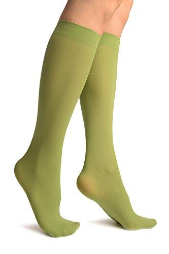 Olive Green Plain Socks Knee