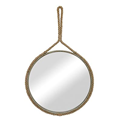 """Stonebriar Round Decorative Mirror with Metal Frame & Rope Hanging Loop for Wall, Nautical or Farmhouse Home Décor - Decorative Ocean Inspired Rope Mirror features a glass mirror with crystal clear reflection & metal frame accented with real rope trim & hanger Stonebriar rope mirror measures 25"""" in diameter and is the perfect addition for the bathroom, bedroom, living room, and hallway Decorative rope mirror comes with attached real rope hanging loop and is easily installed with a wall hook or screw (Hardware not included) - bathroom-mirrors, bathroom-accessories, bathroom - 31kDl YxXCL. SS400  -"""