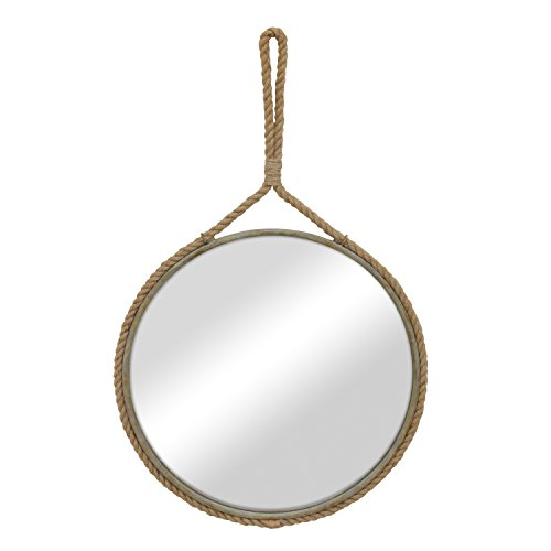 Stonebriar Round Decorative Mirror with Metal Frame & Rope Hanging Loop for Wall, Nautical or Farmhouse Home Décor (Decorative Metal Framed Mirrors)