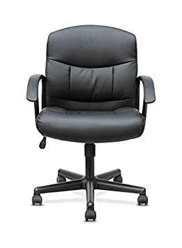 Sadie Mid-Back Task Chair- Fixed Armed Computer Chair for Office Desk, Black Leather HVST303