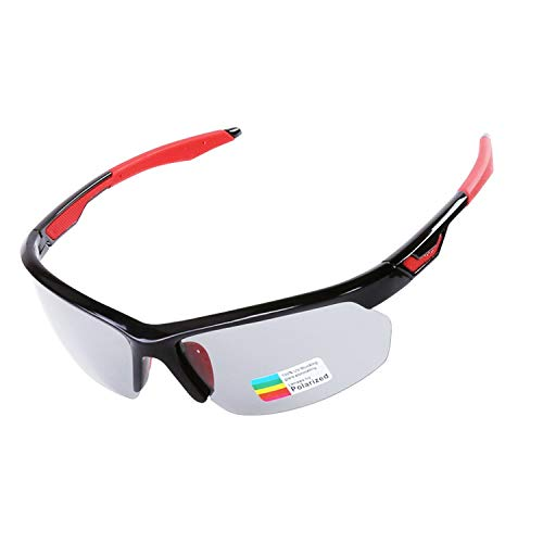 Photochromic Cycling Sunglasses TR90 Road Bike Glasses 3 in 1 Lens All-weather Eyewear,Black with Red