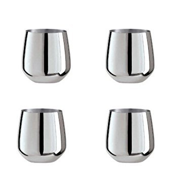 Oggi Set of 4 Stainless Steel Stemless Wine Glasses