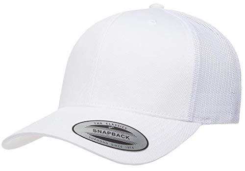 (Yupoong Retro Trucker Snapback Cap   Mesh Back, Adjustable Ballcap w/Hat Liner (White))