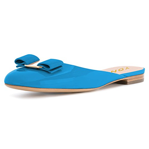 YDN Women Round Toe Low Heel Flats Slip on Bowknot Slippers Summer Slide Clog Shoes Blue 11 by YDN (Image #1)