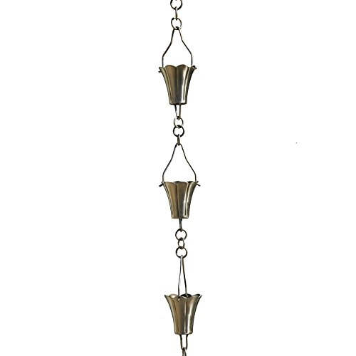 Patina Products Brushed Stainless Fluted Cup Rain Chain