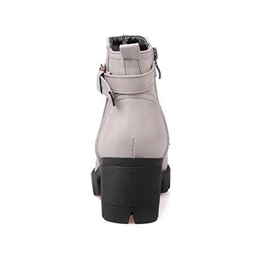 runde grau Low Heels Kitten Reißverschluss Frauen AgooLar Zehenstiefel Material Top geschlossene weiches 8TPqTw50