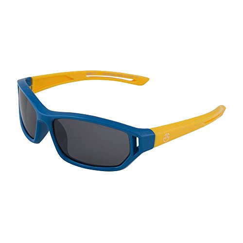 Kids Flexible Rubber Sunglasses for Boys and Girls - Blue and Yellow Sporty Goggle Shield Style Bendable and Unbreakable Frame - 100% UV Protection and Polarized Lenses - By Optix - Glasses Boy Little