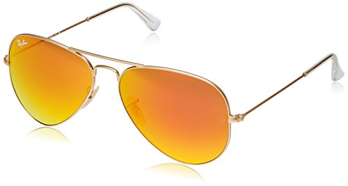 Ray-Ban RB3025 Aviator Sunglasses Matte Gold/Orange Mirror (112/69) RB 3025 - Sizes Aviators Of Ban Ray Different