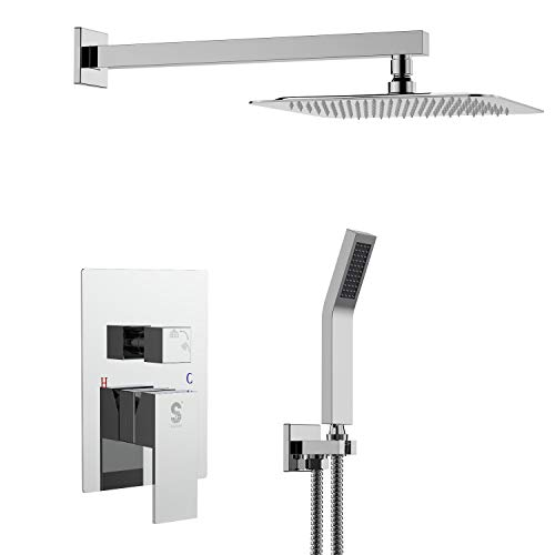 Bathroom Heads Rain Showerheads - SR SUN RISE SRSH-D1203 12 Inch Bathroom Luxury Rain Mixer Shower Combo Set Wall Mounted Rainfall Shower Head System Polished Chrome (Contain Shower faucet rough-in valve body and trim)