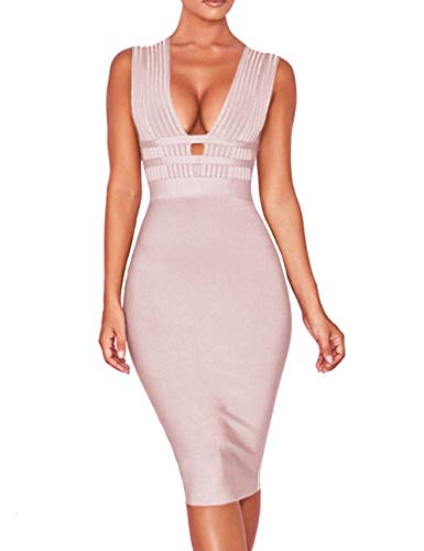 whoinshop Women 'S Sexy Deep V Plunge Sleeveless Cut Out Bodycon Bandage Cocktial Party Dresses (M, Nude) (Sexy Khaki Club Dress)
