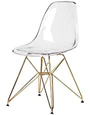 Plata Import Modern Eiffel Transparent Chair with Gold Legs, Acrylic Dining Chair, Clear Side Chair, Dining Room Furniture, Kitchen Furniture, Eames Style