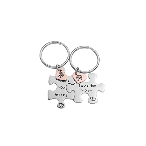 Couples Jewelry Stainless Steel Puzzle Promise Keychain Gift for Girlfriend Boyfriend Best Friend (i Love You Most)