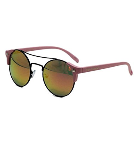 Boho-Chic Vacation & Fall Looks - Standard & Plus Size Styless - Betsey Johnson Pink Brow Bar Mirrored Round Sunglasses