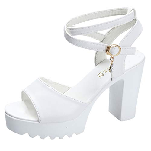 - Women Summer Casual Platform Sandals Peep Toe Non-Slip Ankle Strappy High Chunky Heel Cross Belt Shoes Pumps by Lowprofile White