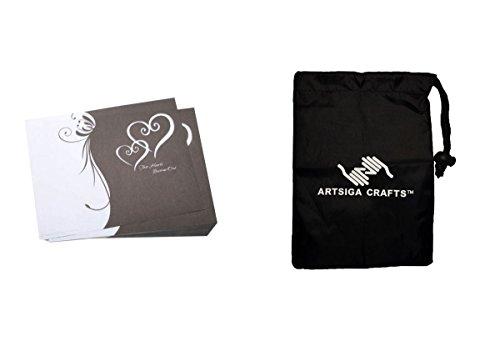 Darice Wedding Program Victoria Lynn Kit White Double Heart on Black 100 Pieces (1 Pack) VL6286 Bundle with 1 Artsiga Crafts Small Bag