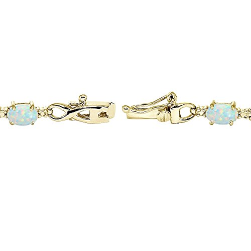 Yellow Gold Flashed Sterling Silver Simulated White Opal Oval Polished Infinity Classic Tennis Bracelet by GemStar USA (Image #1)