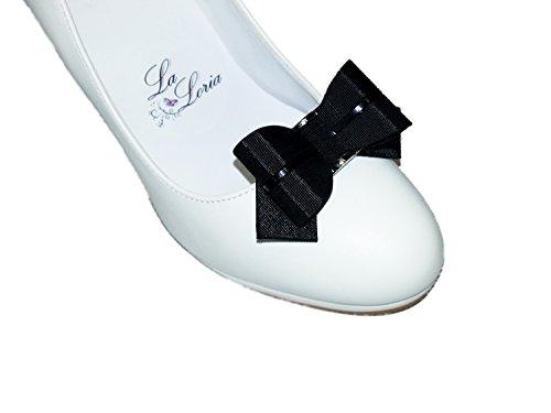 La Loria bijoux set: Écharpe noir-blanc et clips de chaussures boucle noir - cadeau pour les femmes