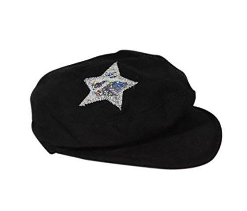 (Black Beret Hat with Star Fits Most 14