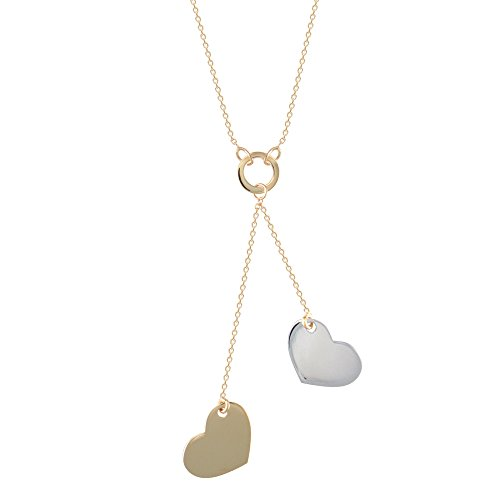 Jewelco Londres 9K 2 couleurs or amours doubles 1mm collier charme, 16 17 18inch