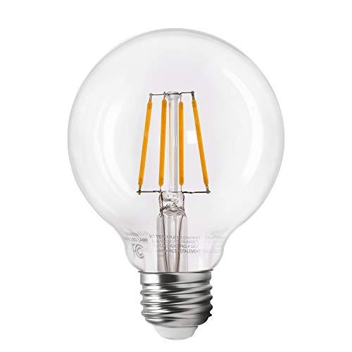 (TORCHSTAR Dimmable LED G25 Vintage Filament Light Bulb, 4.5W (40W Equiv.), 2700K Soft White, Vintage Edison Style, E26 Medium Base, 2 YEARS WARRANTY)