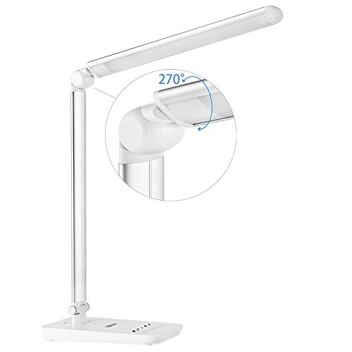 ledgle led desk lamp 9w eye-caring dimmable office table lamp reading lights, 7 brightness levels, 4 working modes, touch control panel, rotatable design, temperatures adjust 2700-6000k