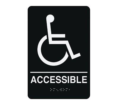Braille Sign, 9 x 6In, WHT/BK, Vinyl, ENG