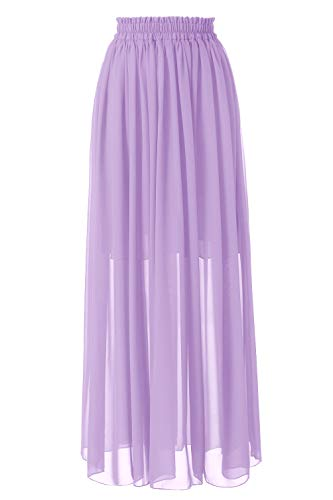 Topdress Women's Floor Length Beach Skirt Floral Print Chiffon Maxi Skirts Lavender M