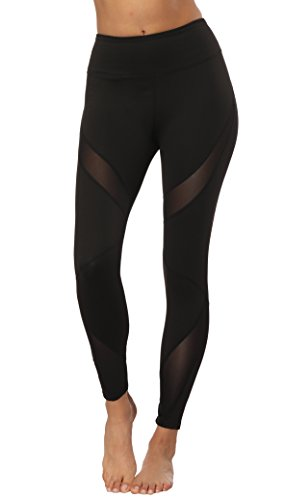 - HKJIEVSHOP Womens Sheer Mesh Insert Yoga Pants Trousers Athletic Workout Leggings Running Tights