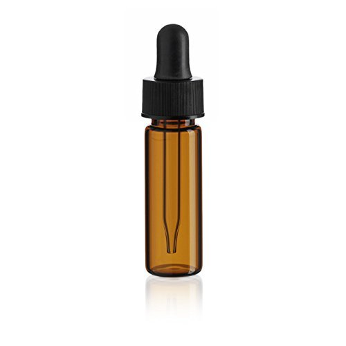 Premium Vials B32-60 Glass Vial with Dropper, 1 Dram Capacity, Amber (Pack of 60)