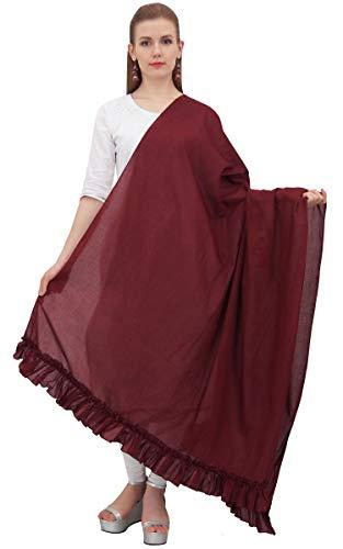 Ruffled Scarf - Phagun Indian Neck Wrap Cotton Dupatta Women Ethnic Chunni Ruffled Scarf-Maroon
