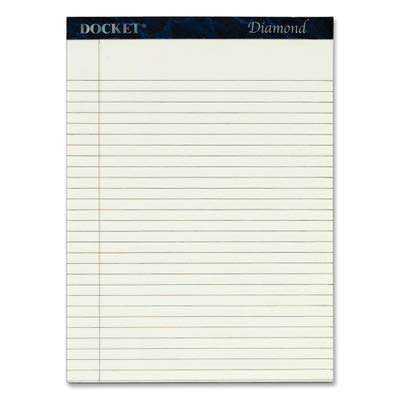 - TOPS Products - TOPS - Docket Diamond Legal Ruled Pads, 8-1/2 x 11-3/4, Ivory, 2 50-Sheet Pads/Box - Sold As 1 Box - 24-lb. premium stationery, fine laid finish. - Rigid back for writing support. - 25% cotton content with watermark. - Letr-Trim perforation for clean tear-out. -