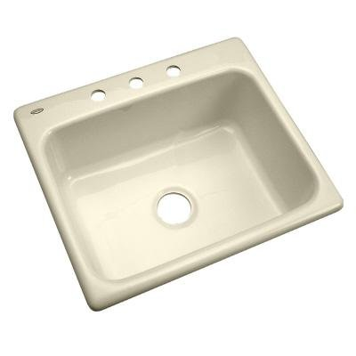 Thermocast 22301 Inverness Single Bowl Cast Acrylic Kitchen Sink with Three Holes, 25-Inch, Bone