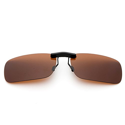 Clip On Sunglasses Men's Titanium Flexible Polarized Lenses Glasses Laura Fairy (A1-Brown, ()