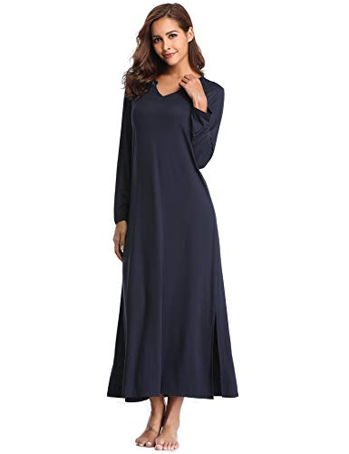 Lusofie Long Nightgowns for Women V Neck Long Sleeve Sleepwear Knit Nightdress (Navy, S)